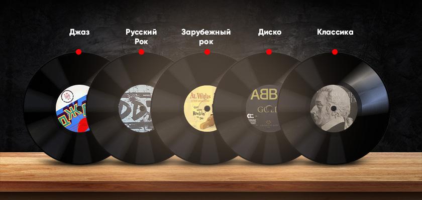 Джаз, Русский рок, Зарубежный рок, Диско, Классика